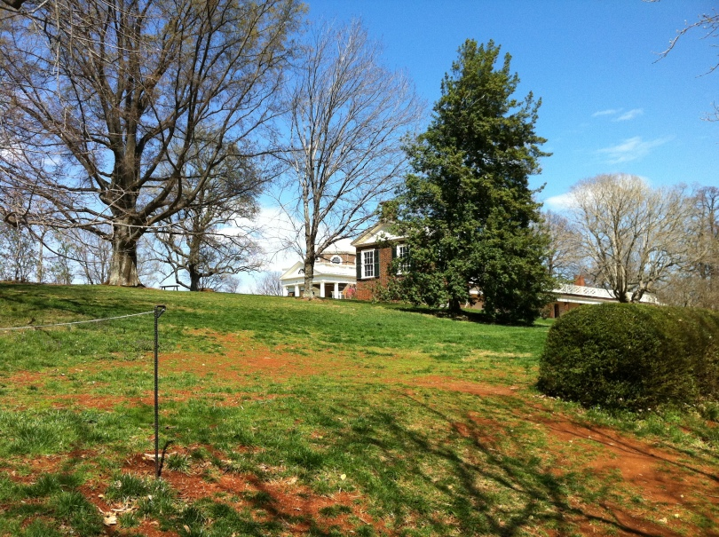 """The top of Jefferson's Monticello, seen from """"Mulberry Row,"""" a path along which slave cabins had stood. [Photo by me, 2011.]"""