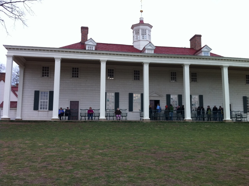 >Washington's Mount Vernon, seen looking at the rear of the house. [Photo by me, 2011.]