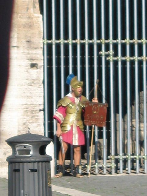 An Italian soldier stands guard outside the Colosseum. [Photo by me, 2005.]