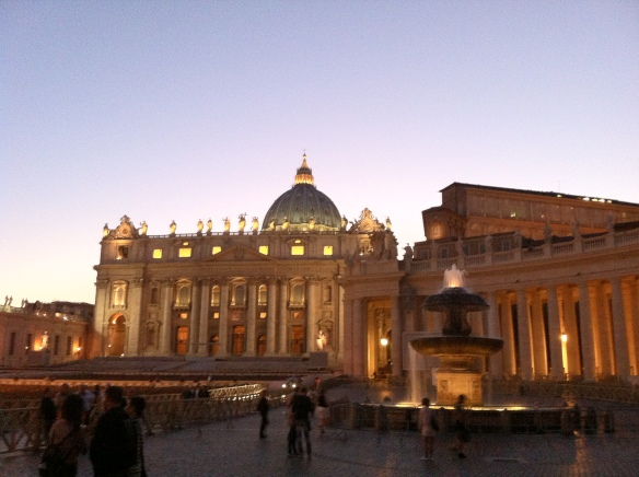 St. Peter's at dusk. [Photo by me, 2013.]