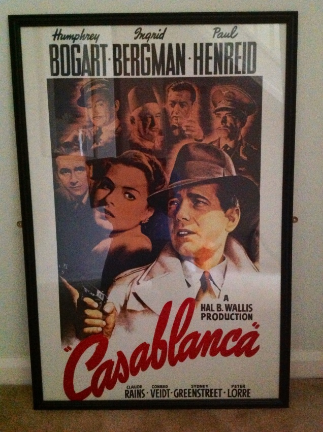 A Casablanca film promo poster that was a gift to me. [Photo by me, 2013.]
