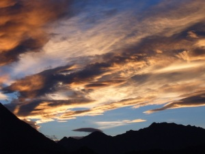 Free Stock Photo: Clouds over the mountains at sunset