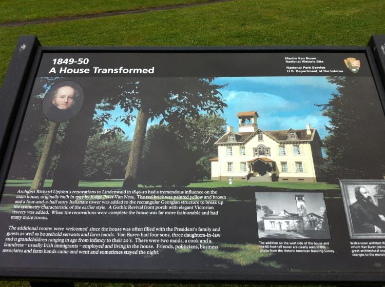 Tourist board at President Martin Van Buren's home, in Kinderhook. [Photo by me, 2014.]