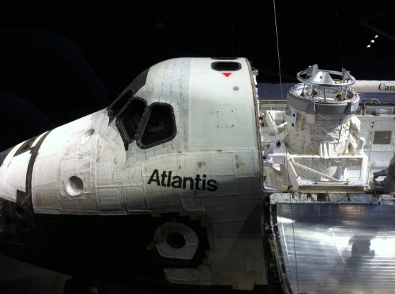 Front of shuttle Atlantis. The whole ship is on display, but getting the entire spacecraft into one photograph seems almost impossible. Kennedy Space Center Visitor Center. [Photo by me, 2014.]