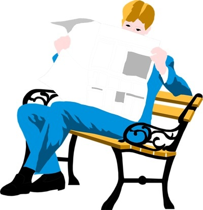 Free Stock Photo: Illustration of a man reading a newspaper on a bench.