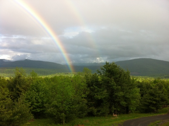 Rainbow over the Catskills. [Photo by me, 2012.]