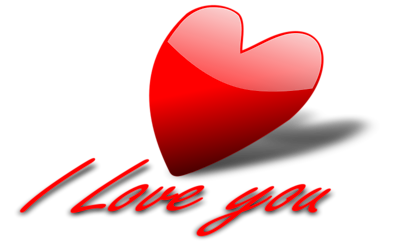 Free Stock Photo: Illustration of a red heart and I love you text.