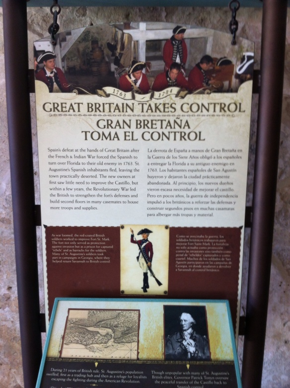 7. Great Britain took over Florida in 1763. But they had to give it back to Spain in 1783. [Photo by me, 2014.]