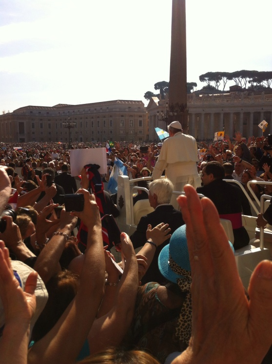 Pope Francis passing by at an audience in St. Peter's Square, the Vatican, September 2013. [Photo by me.]