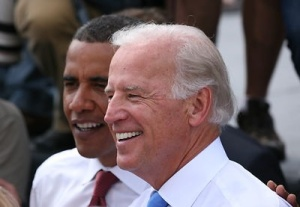 Free Stock Photo: Joe Biden and Barack Obama in Springfield, Illinois, right after Biden was formerly introduced by Obama as his running mate.