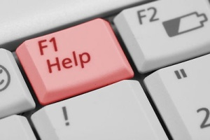 Free Stock Photo: Red F1 help key on a keyboard.