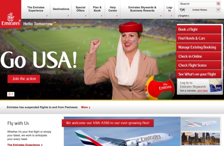 Emirates.com in the U.S. on Tuesday.