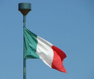 Free Stock Photo: Italian flag in blue sky.