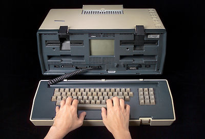 Free Stock Photo: This early 1980\'s model of a portable computer was the Global Health Odyssey\'s Historical Object of the Month for August, 2004.