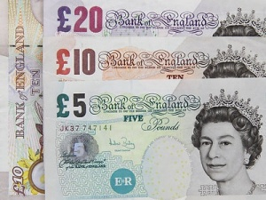 Free Stock Photo: Several British bank notes.