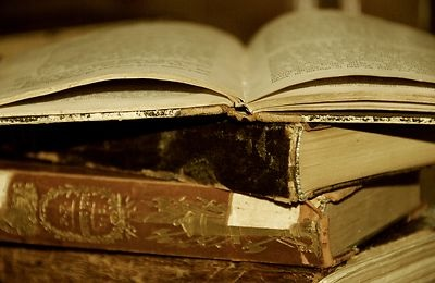 Free Stock Photo: A pile of antique books.