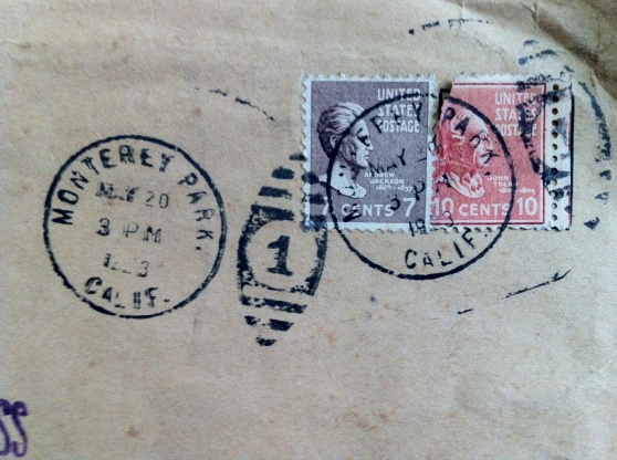 1920s U.S. stamps. [Photo by me, 2014.]