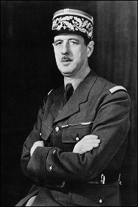A WWII photo portrait of General Charles de Gaulle of the Free French Forces and first president of the Fifth Republic serving from 1959 to 1969. [Wikipedia.]