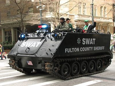 Free Stock Photo: An armored SWAT vehicle in the 2010 Saint Patricks Day Parade in Atlanta, Georgia.