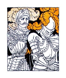 Free Stock Photo: Illustration of two medieval knights.