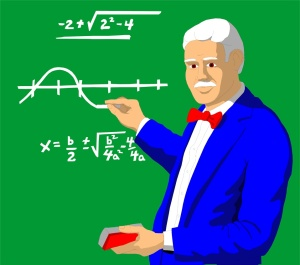 Free Stock Photo: Illustration of a professor doing math on a chalk board