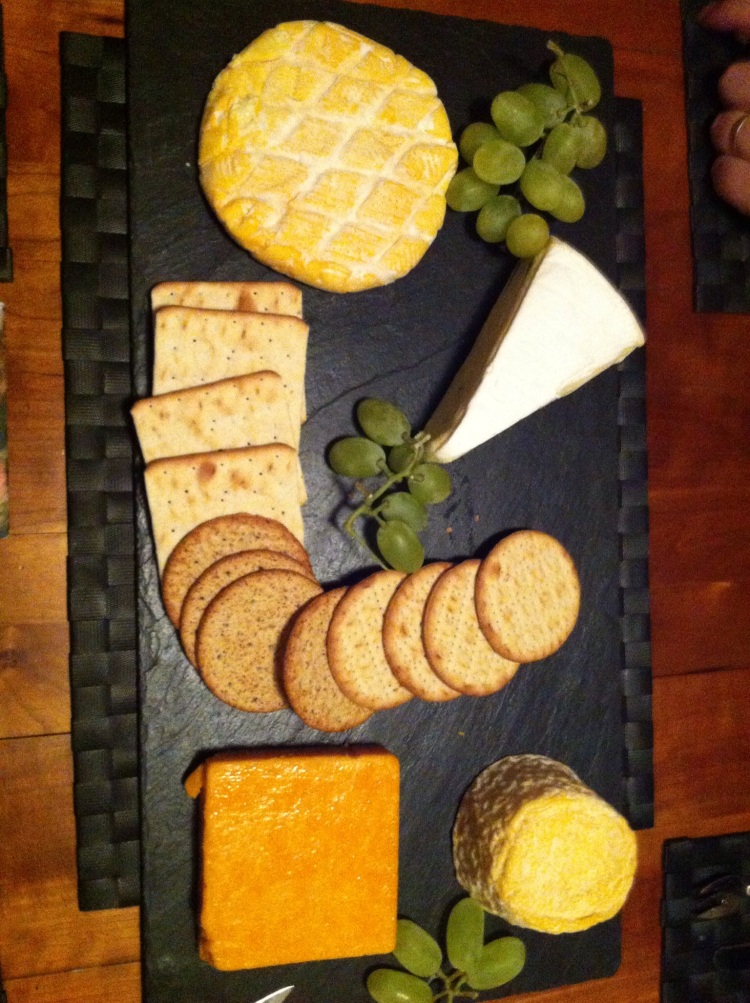 Call this an English cheeseboard, laid out by a Danish woman. Which it was.