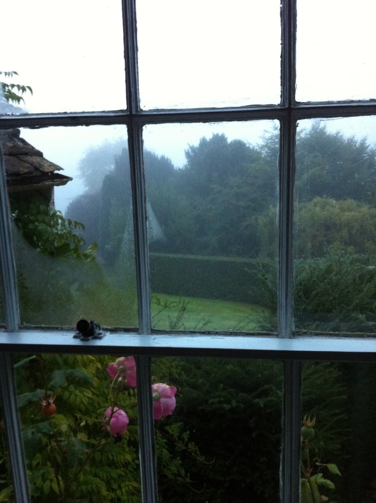 The view just after dawn out the bedroom window from our holiday rental in Turleigh, Wiltshire. [Photo by me, 2014.]