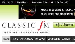 Screen capture of the Classic FM web site.