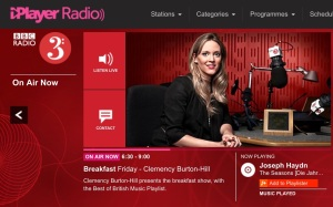 Screen capture of the BBC Radio 3 web site.