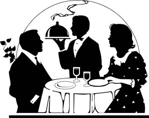Free Stock Photo: Illustration of a couple being served a romantic dinner.