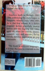 Frontiers tentative back cover. [Photo by me, 2014.]
