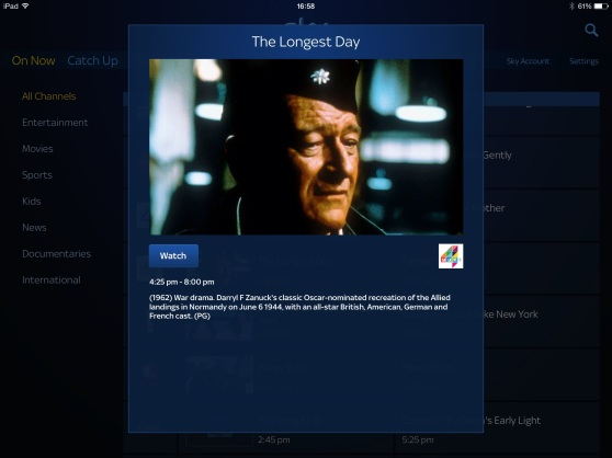 Screen capture of The Longest Day listing on Sky, on Saturday afternoon.