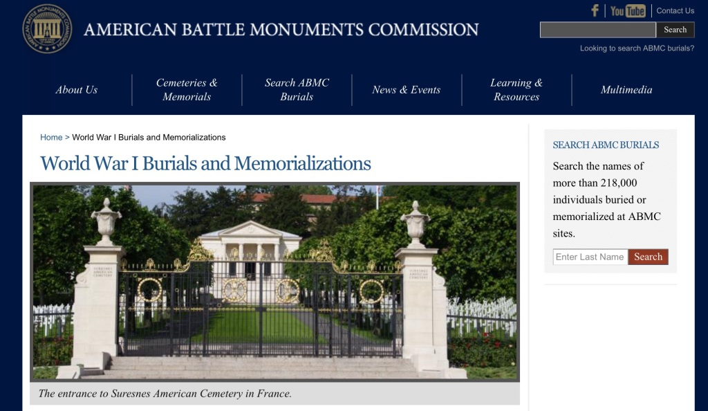 Screen capture of the American Battle Monuments Commission's WWI page.