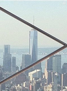 1 World Trade Center, photographed from safely behind the fencing on the Empire State Building, summer 2013. [Photo by me, 2013.]