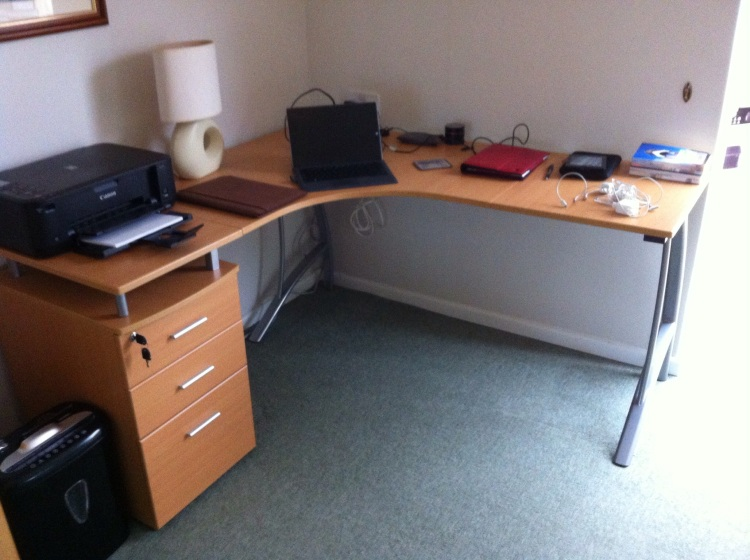 Done! Self-assembly desk... assembled! [Photo by me, 2014.]