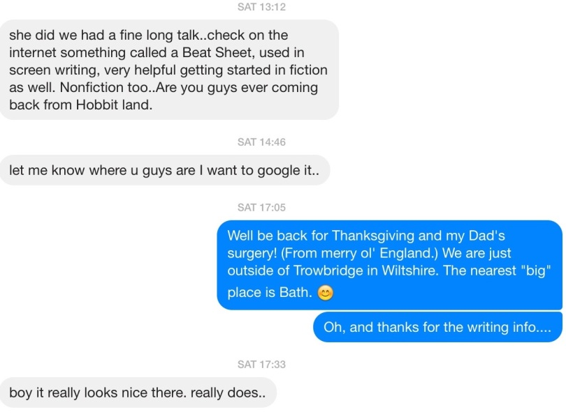 Engaging with a writer uncle on Facebook Messenger about writing when he doesn't know you have already written one book and are nearly finished with the second. [Screen capture by me, 2014.]