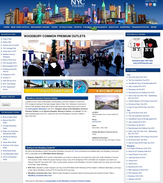 Screen capture of NYC tourist's Woodbury Common page.