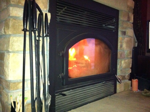 Our fireplace. [Photo by my, 2014.]
