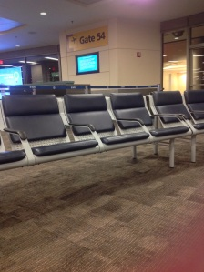 A people-less moment, at the gates at Newark-Liberty Airport's Terminal B. [Photo by me, 2014.]