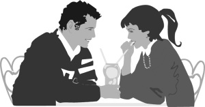 Free Stock Photo: Illustration of a couple on a date.