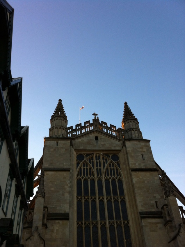 Bath Cathedral (with an England flag flying) [Photo by me, 2014.]