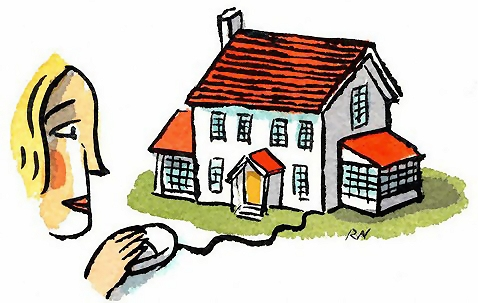 Free Stock Photo: Illustration of a woman clicking with a mouse attached to a house.