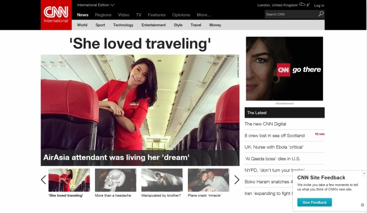 Screen shot of CNN's new web site.