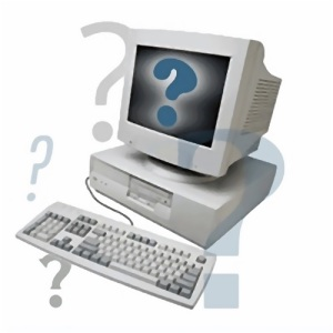 Free Stock Photo: Illustration of a computer surrounded by question marks