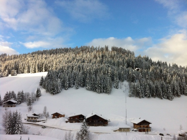 Snowy hillside, just outside La Clusaz, France. [Photo by me, 2015.]