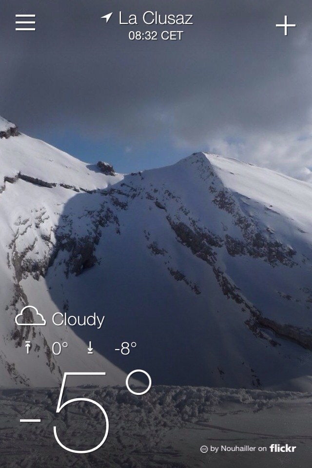 Inspirational to see this on your iPhone early in the day. (Temperature in centigrade - it's not THAT cold.)