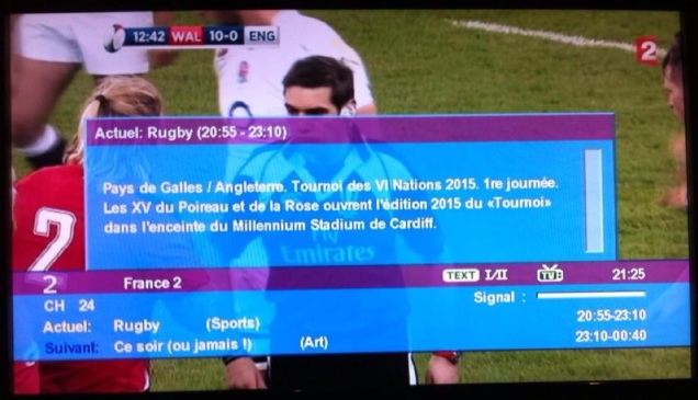 England v. Wales on France 2, February 6, 2015. (Capture by me.)