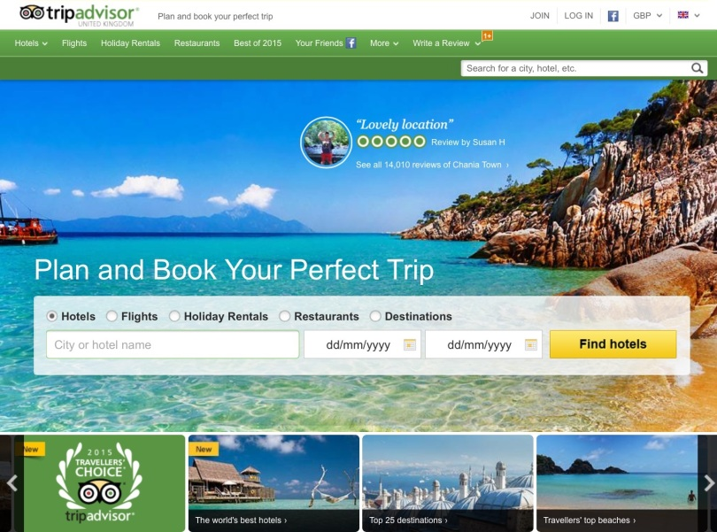 TripAdvisor homepage. [Screen capture by me.]