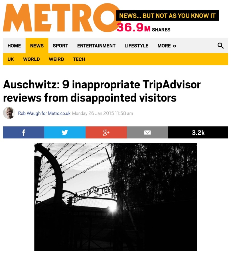 Metro.co.uk on TripAdvisor Auschwitz reviews. [Screen capture by me.]