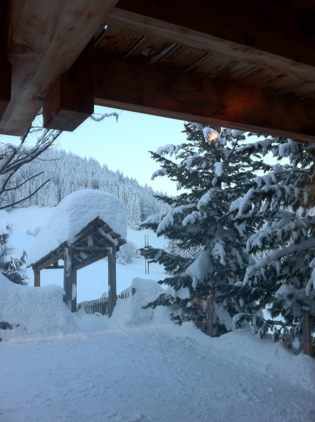View from our chalet, La Clusaz, France. [Photo by me, 2015.]